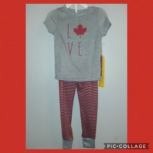 🆕️ Rae Dunn RD Unisex PJs Pajamas Canada Love 4T